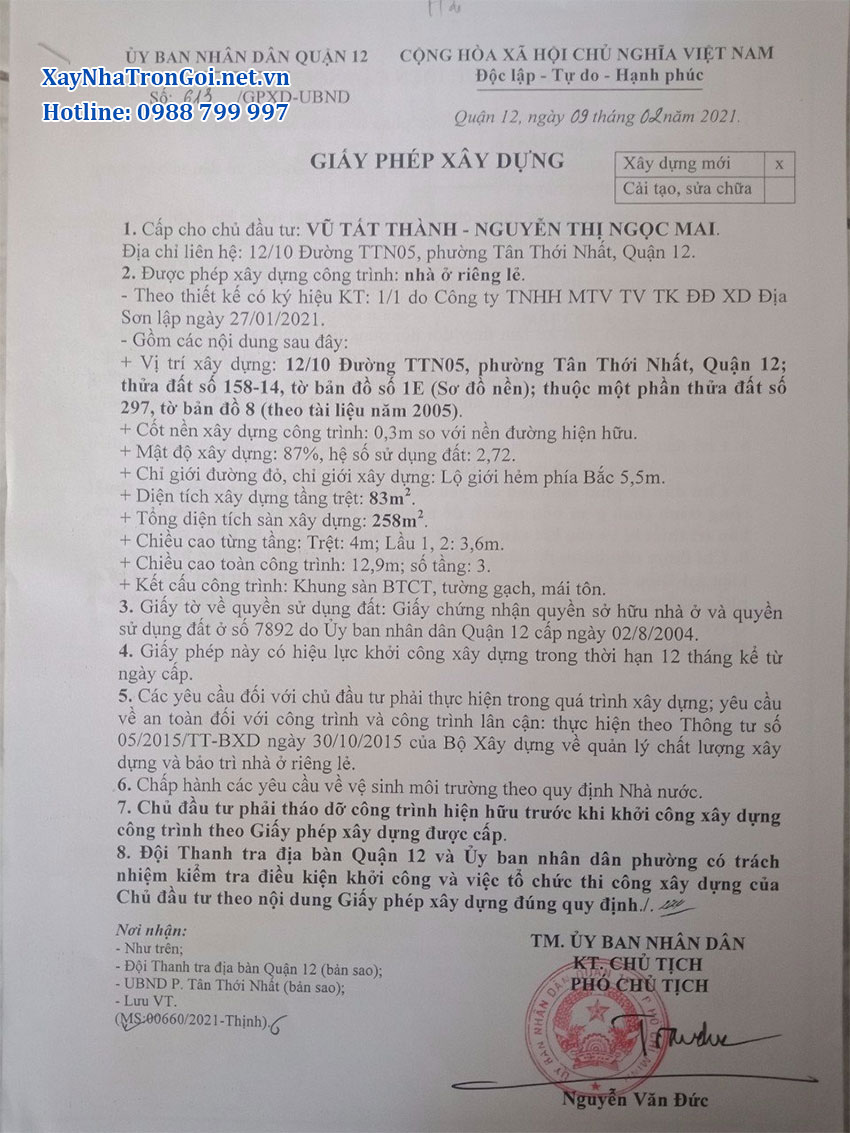 Giấy phép xây dựng nhà anh Thành Q. 12, Tp. HCM