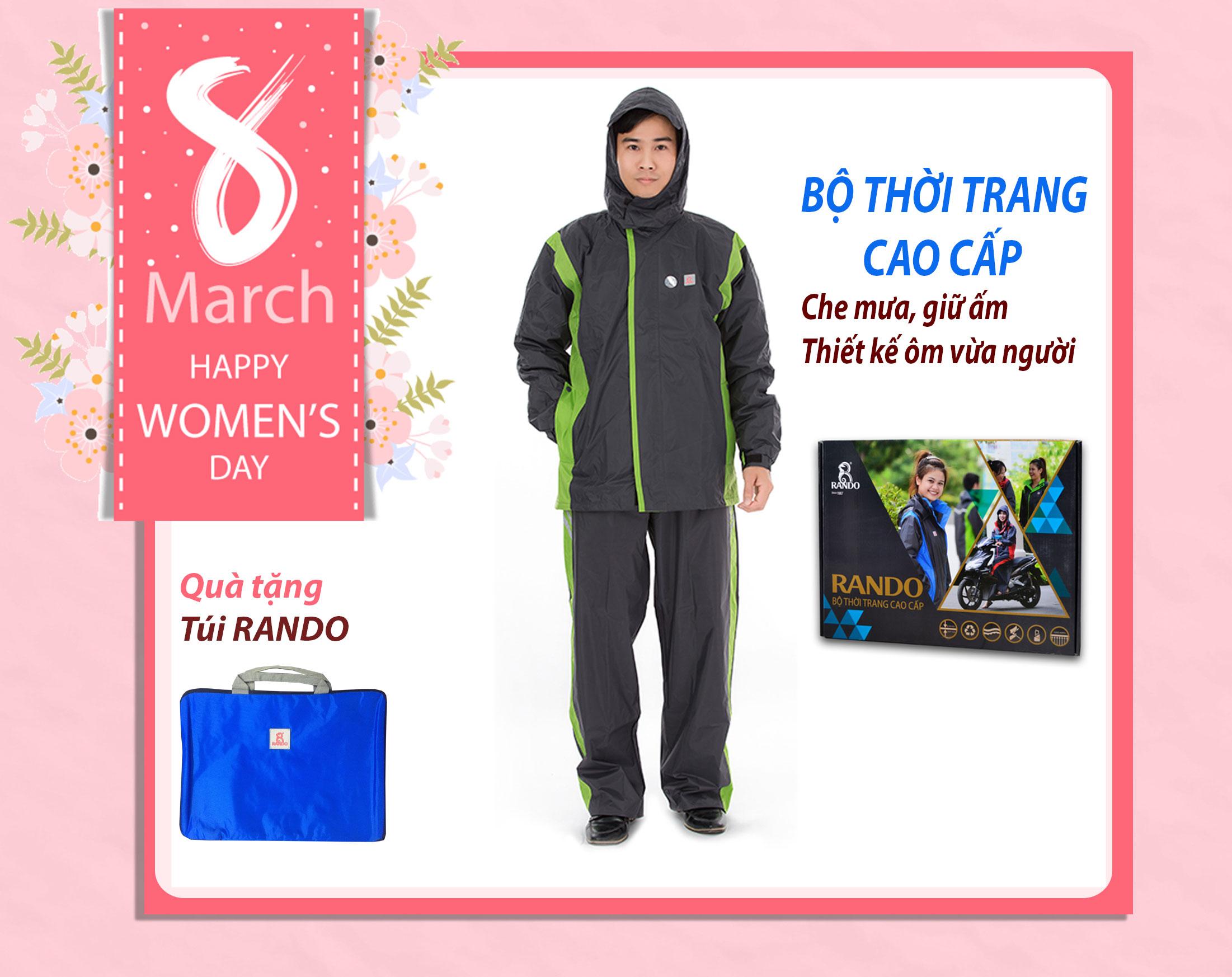 Áo mưa bộ thời trang cao cấp RANDO khuyến mãi 8-3
