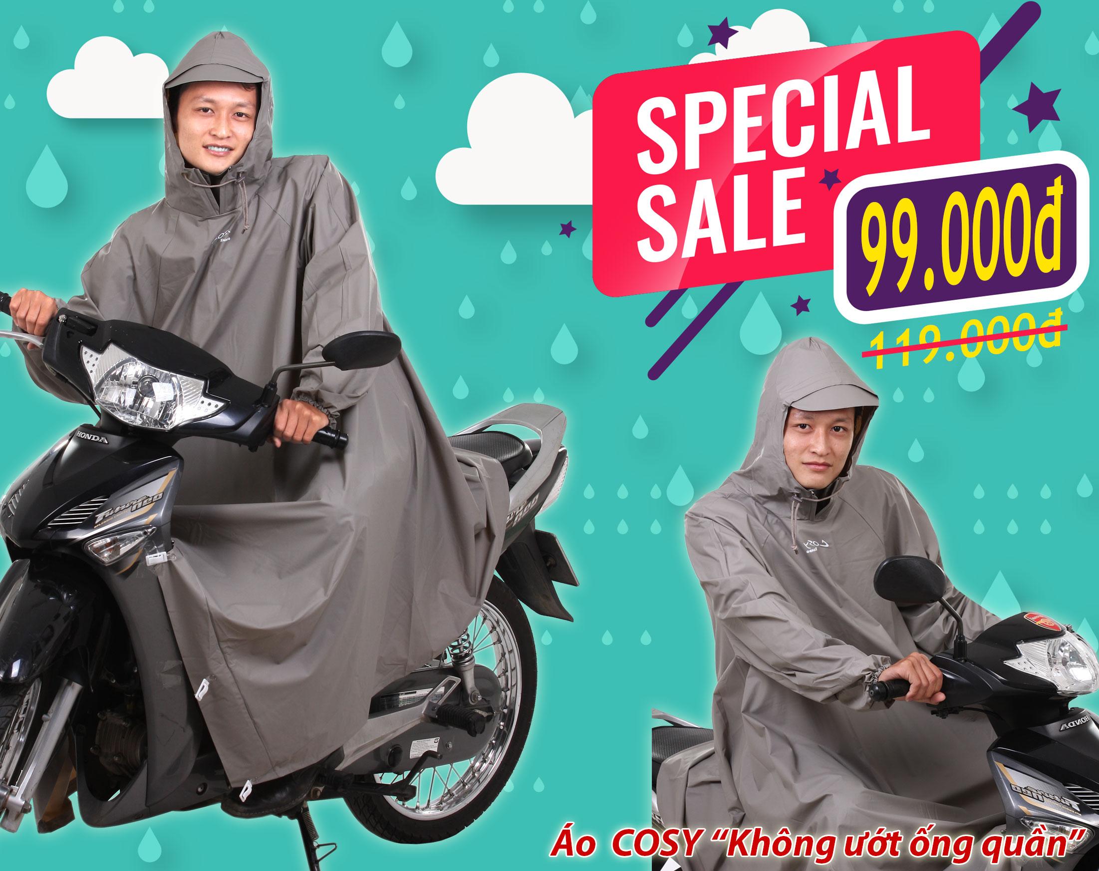 Áo mưa cosy không ướt ống quần rando khuyến mãi tháng 7/2019