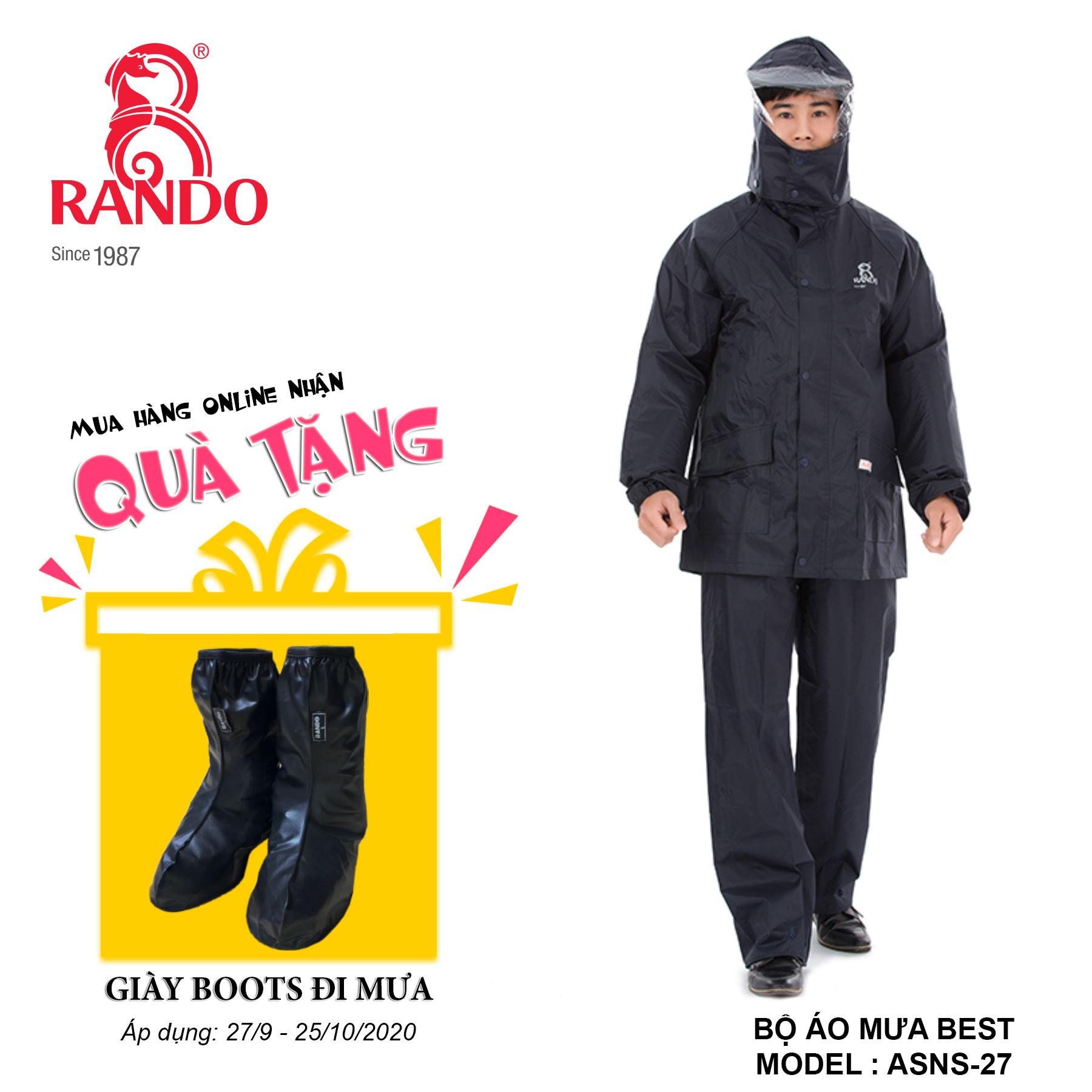 Mua bộ áo mưa BEST tặng GIÀY BOOTS đi mưa RANDO