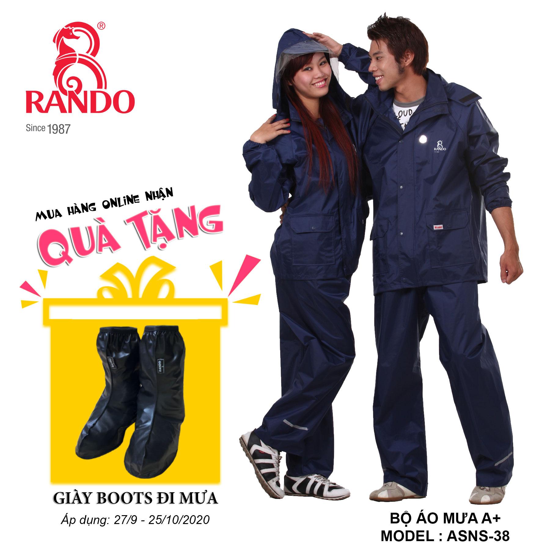 Mua bộ áo mưa A+ tặng GIÀY BOOTS đi mưa RANDO