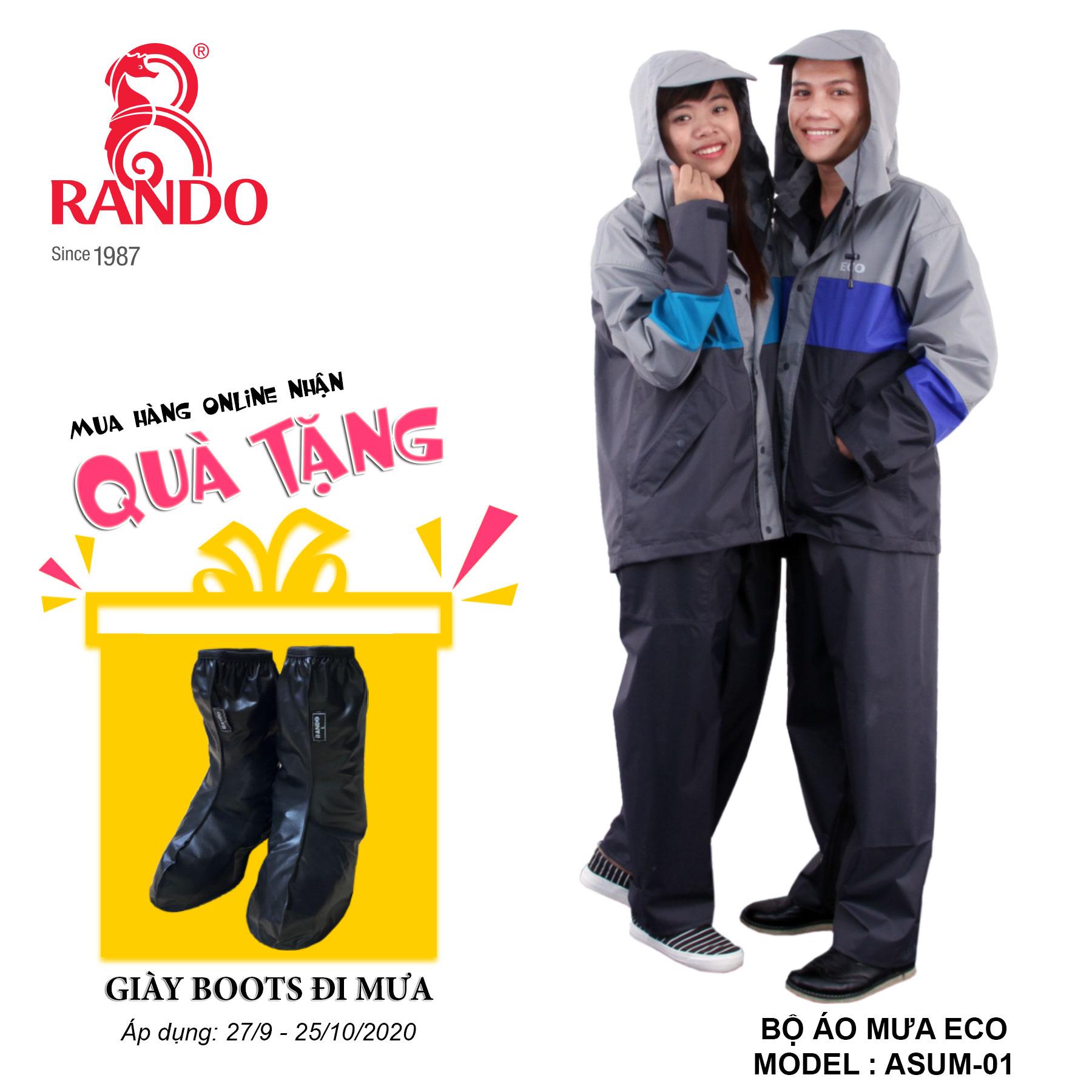 Mua bộ áo mưa ECO tặng GIÀY BOOTS đi mưa RANDO
