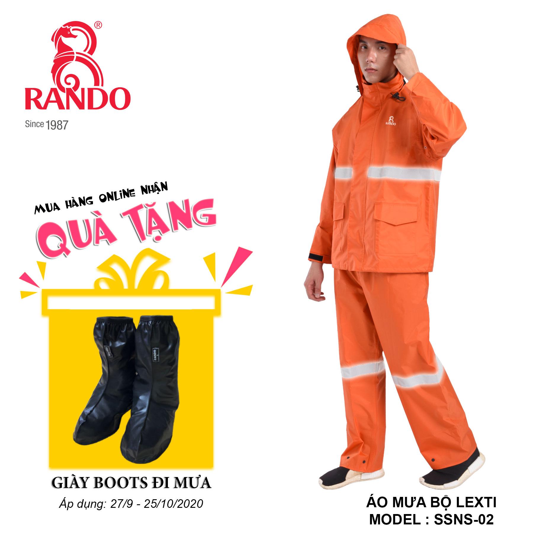 Mua bộ áo mưa LEXTI tặng GIÀY BOOTS đi mưa RANDO