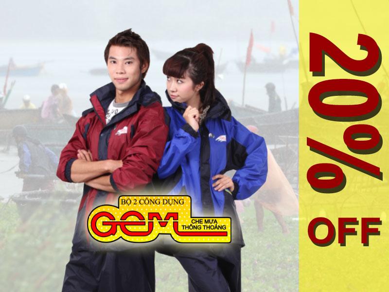 Bộ áo mưa GEM khuyến mái tháng 9-2020