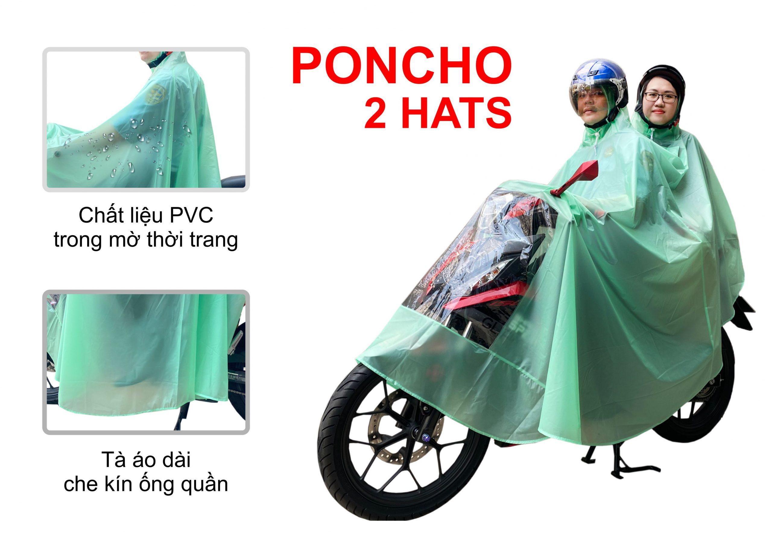 Áo mưa Poncho 2 hat trong màu có kiếng RANDO
