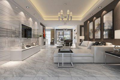 Phòng khách nên lựa chọn gạch có độ bóng và chống trơn trượt