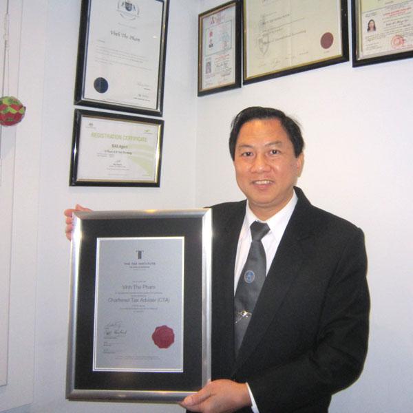 Sáng lập, Chủ tịch-Giám đốc: Luật sư- Kiểm toán viên- Chartered Tư vấn thuế (CTA) Úc-Đại lý Thuế DN Úc..