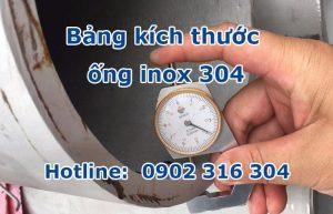 bảng kích thước ống inox 304