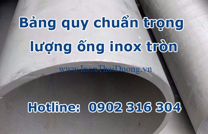 bảng quy chuẩn trọng lượng ống inox tròn