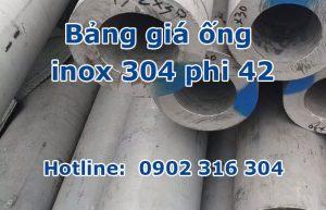 bảng giá ống inox 304 phi 42