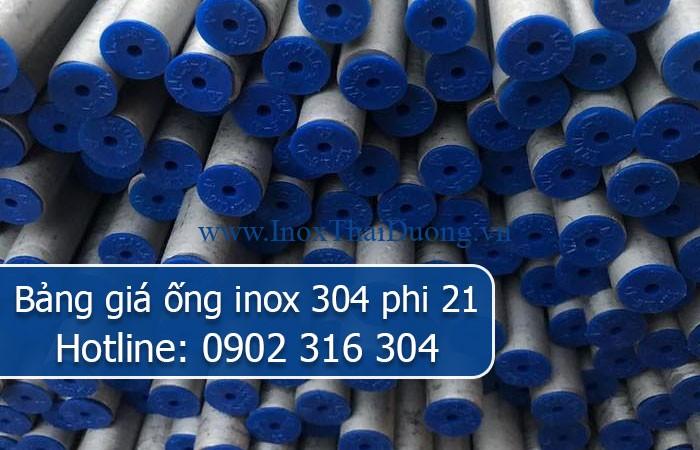 bảng giá ống inox 304 phi 21