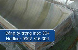 bảng tỷ trọng inox 304