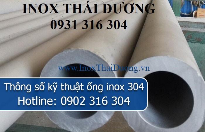 thông số kỹ thuật ống inox 304