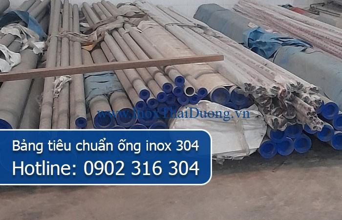 bảng tiêu chuẩn ống inox 304