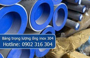 bảng trọng lượng ống inox 304