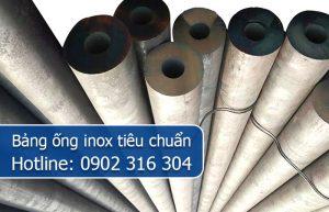 bảng ống inox tiêu chuẩn