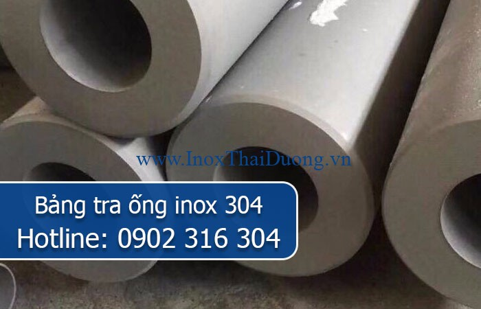 bảng tra ống inox 304