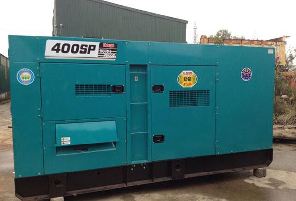 Máy phát điện 400kva nhập khẩu đồng bộ nguyên chiếc từ Nhật bản, mới 90% có vỏ chống ồn hoặc siêu chống ồn.